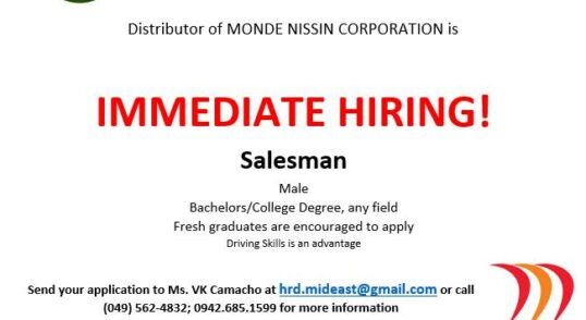 Salesman Job Opening
