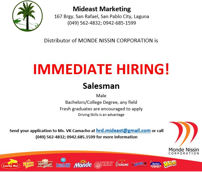 Job Opening in Laguna – Salesman Position | Mideast Marketing